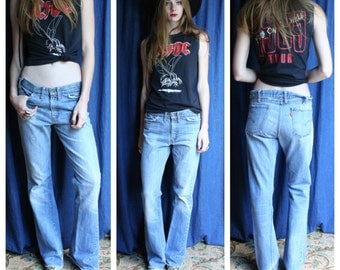 1970's Bell Bottoms / Levi's Big E Orange Tab Jeans / Boho Festival Denim / Washed out Jeans / Blue Jean Baby / Perfect Patina Denim Jeans