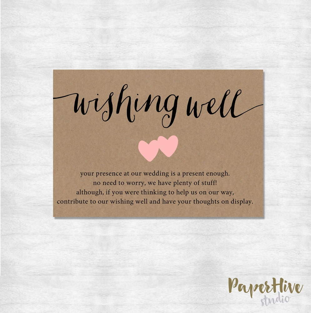 Asking For Money As A Wedding Gift Poem: Wishing Well Card / Rustic Wishing Well Card / Printable