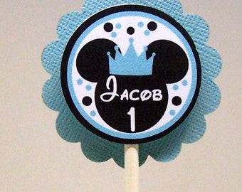 Prince Mickey Mouse Birthday Blue Cupcake Toppers Set of 12 Personalized
