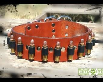 "Bullets / Ammo Leather Dog Collars - 2"" wide - LOCKED n' LOADED, Gunbelt Bullet Shells, Big Dog Leather Collar"
