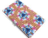 Colorful Polymer Clay Business Card  Case, Kaleidoscope Pattern