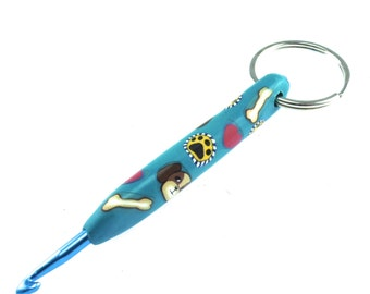 Unique, Colorful Crochet Hook Keychain 4mm, Polymer Clay Covered Crochet Hook, Dog Design