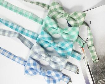 Wedding Set of Gingham Men's Bow Ties, Groomsmen Bow Ties, Mismatched Wedding Bow Ties