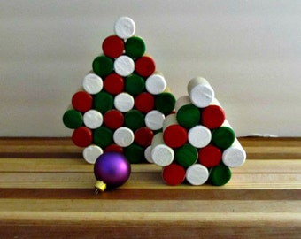 Wine Cork Trees - Red, Green and White - Tabletop Centerpiece, Mantle Decoration, Winter Holiday Figurine - Under 25