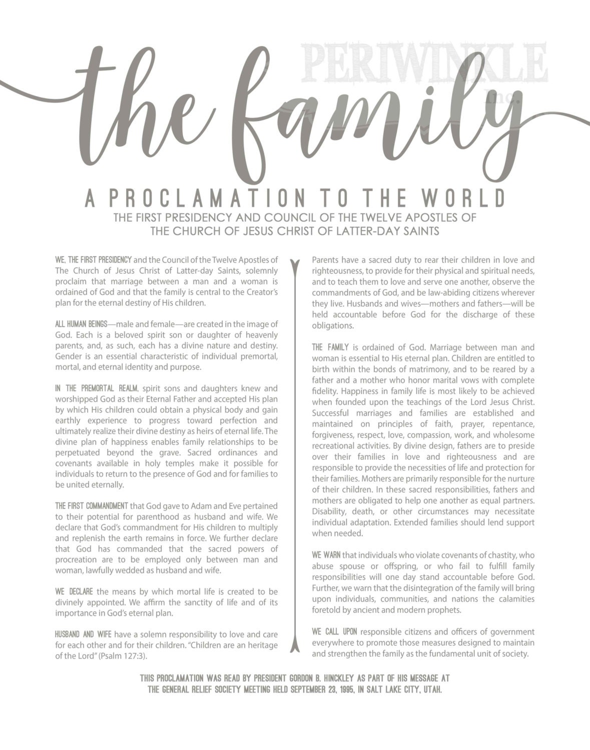 Soft image with regard to the family a proclamation to the world free printable