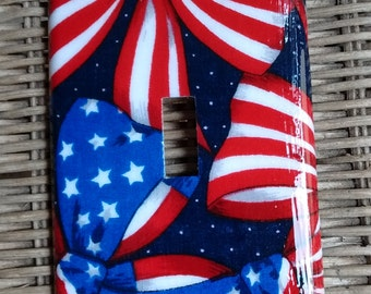 Red White and Blue Patriotic Single Toggle Light Switch Plate Cover