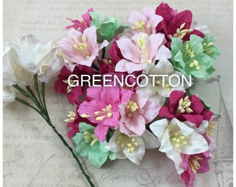 25 Mixed Pink-Green Color Mulberry Paper Lily flowers code Pink-Green-Lily