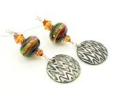 Multicolor Earrings, Modern Earrings, Lampwork Earrings, Beadwork Earrings, Dangle Earrings, Boho Earrings, Unique Earrings, Steel Earrings