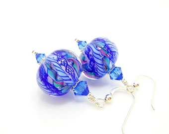 Blue Earrings, Swirl Ribbon Earrings, Lampwork Earrings, Glass Earrings, Beadwork Earring, Unique Earrings, Lampwork Jewelry