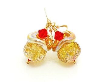 Gold Earrings, Sugared Earrings, Ruffle Earrings, Lampwork Earrings, Glass Bead Earrings, Gold and Red Earrings, Holiday Earrings