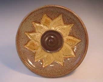 Sunflower Harvest Bowl Platter in Yellow and Tan -- Handmade Pottery - in stock