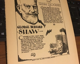 George Bernard Shaw writer playwright. Book page print. 7 x 11 approx. Great for framing.