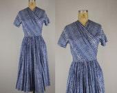 vintage 1950s dress / 50s Indian print dress / Antique Luster dress