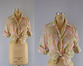 Vintage 1970s Blouse l 70s Sheer Floral Top