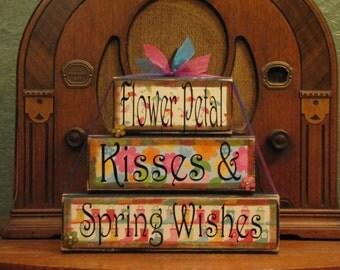 Spring Decor, Spring Sign, Easter Sign, Easter Decor, Spring Blocks, Flower Petal Kisses and Spring Wishes Large Stacker