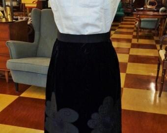 Vintage 1960s Black Velvet Skirt with Satin Floral Appliques