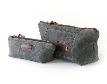 NO. 317 & NO. 275 Personalized Makeup Bag Set in Slate Gray Waxed Canvas, Leather, Monogram Large Makeup Bag, Zipper Pouch, Anniversary Gift