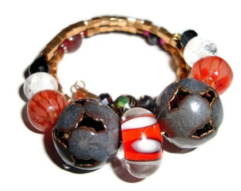 PIF Fun, Funky Bracelet with Enameled and Lampwork Artisan Beads, Wrap, One Size Fits All, Gift, Friendship, Birthday, hristmas, Special