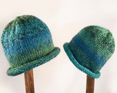 Child Adult Hat Rolled Brim Beanie Size SMALL 1 to 6 months Color No. 46 OCEANA