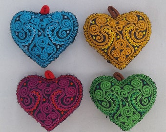 Set of FOUR Embroidered Quilted HEARTS for Fiber Crafts