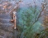 Yoga  - Little Yogi in Tree Pose © - Aventurine Jade head - copper - people -  puppet- vriksha-asana - heart chakra