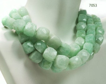 ON SALE Russian Amazonite 3D Cubes Box Beads Faceted Pale Green Genuine Amazonite Earth Mined Gemstone - 6 to 7mm - 4-Inch Strands