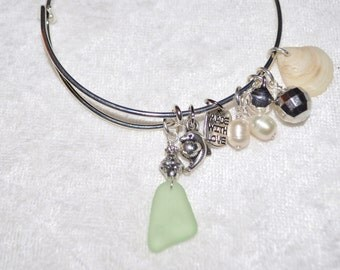 Adjustable Expandable Sea Glass Jewelry Beach Bangle Wire Charm Bracelet Seafoam Green 1129