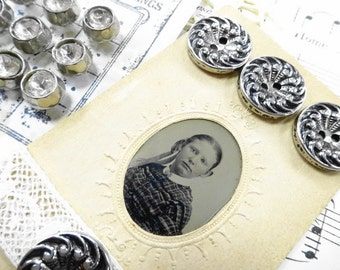 Needful Things Antique Gem Tintype Photograph Little Girl Vintage Sewing Buttons lace Doily Destash DIY Kit Lot Collection