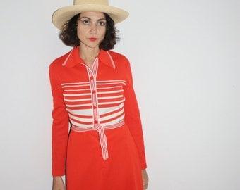 1970s red stripe maxi dress