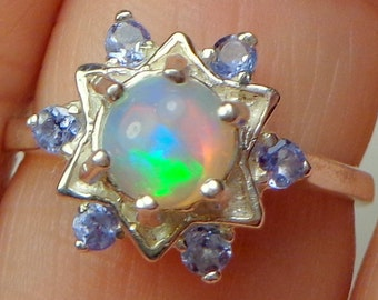 Opal Ring,Tanzanite Accents, Sterling Silver,Star Shaped Setting, Ethiopian Welo Opal Ring, Multi-Color Pastel, Natural Gemstone Ring, OOAK