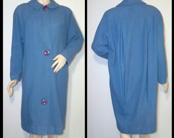 1950s British beautiful blue wool coat ~ Medium ~ Dobroyd 50s ~ made in England back pleats ~ tailored coccoon ~ warm soft pure virgin wool