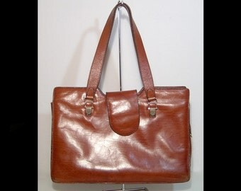 Large chestnut brown leather bag ~ 1970s 1980s ~ made in Italy - tote purse ~ shopper ~ professional briefcase attache case legal ~ flap top