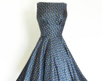 Navy 70's Print Silk Tiffany with Circle Skirt - Made by Dig For Victory