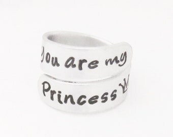 Handstamped ring - Daughter gift - You are my princess crown ring - Ring for daughter - Girlfriend ring - Gift for wife