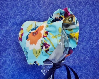 Corduroy Baby Bonnet Aqua with Bright Flowers and Fleese