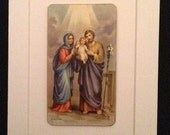 Vintage 5 x 7 Matted Religious Card - Mary Joseph and Jesus - The Holy Family
