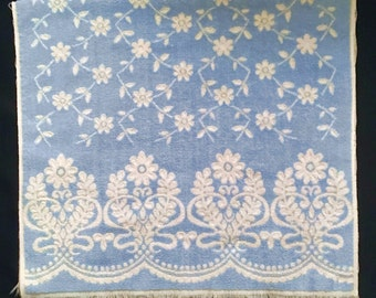 Vintage Reversible Blue and White Bath Towel - Cannon Royal Family