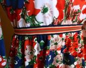 60s Floral Empire Waist Scoop Neck Long Sleeve Dress