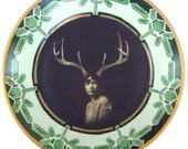 SALE - Deer Liza - Altered Vintage Plate 10.15""