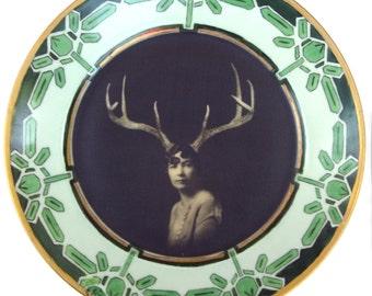 "SALE - Deer Liza - Altered Vintage Plate 10.15"""