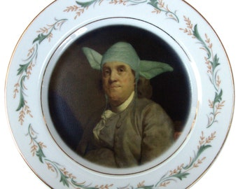 Yodamin Franklin Portrait Plate - Altered Antique Plate 7.75""