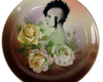 Modern Lady Portrait Plate - Altered Vintage Plate 6.4""