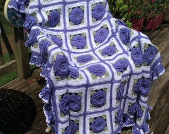Lavender Roses and Ruffles Afghan with Ruffles, Satin Ribbons and Bows - Ready to ship - 48 squares