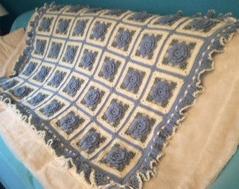Blue Roses Afghan Blanket Throw - Made and ready to ship - 35 squares
