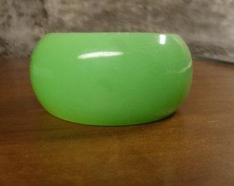 Vintage 1960's  Green Lucite Clamper Bracelet