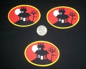 3 Pc Haunted House No Sew Iron On Appliques Cotton Patches