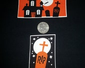 2 Pc Haunted House Church RIP Cemetery No Sew Iron On Appliques Cotton Patches