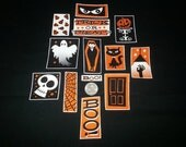 Unlucky 13 Pc Trick or Treat BOO! Halloween Cat Vampire Ghost Skull No Sew Iron On Appliques Cotton Patches