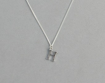 Silver Plated Initial H Necklace