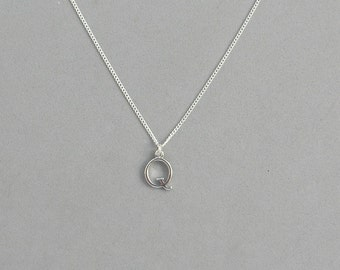 Silver Plated Initial Q Necklace